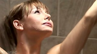 Gorgeous shemale MILF blows staff penis of her hungry man