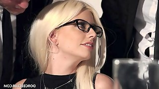 Adorable blonde babe with glasses gets wrecked in the restaurant