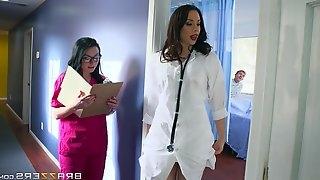 Curvy nurse Veruca pounded hardcore doggystyle in ffm