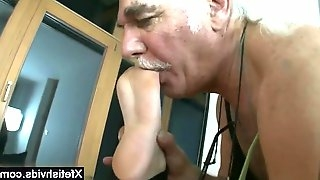 Horny grandpa sucks toes