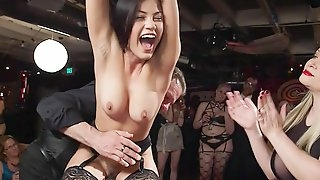 Nasty babes and Housewife at bdsm swingers party
