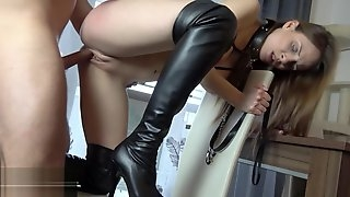 Babe in thigh high boots on a leash pussy plowed