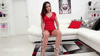 Hot brunette in a sexy, red dress, Ginebra Bellucci got doublefucked while sucking another dick