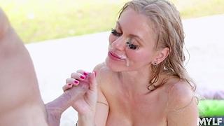 Outdoors fucking by the pool with fake boobs MILF Casca Akashova