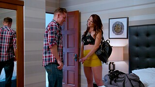 Passionate shacking up in the bedroom take fake tits Audrey Miles